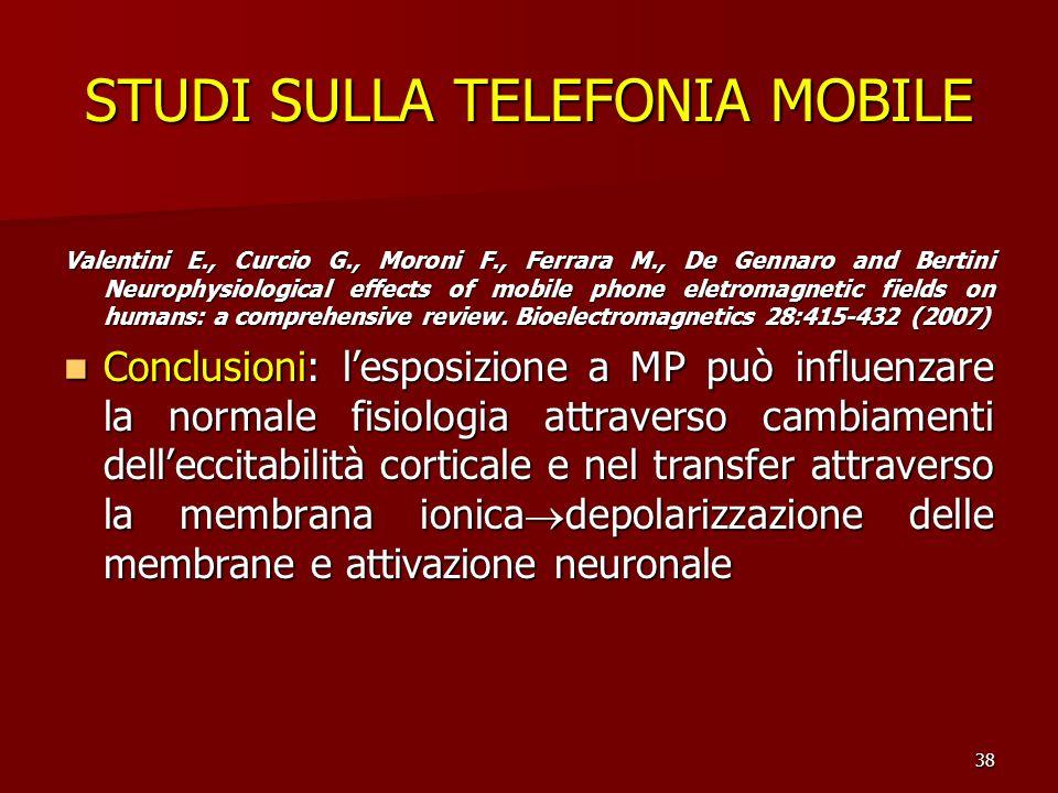 38 STUDI SULLA TELEFONIA MOBILE Valentini E., Curcio G., Moroni F., Ferrara M., De Gennaro and Bertini Neurophysiological effects of mobile phone elet