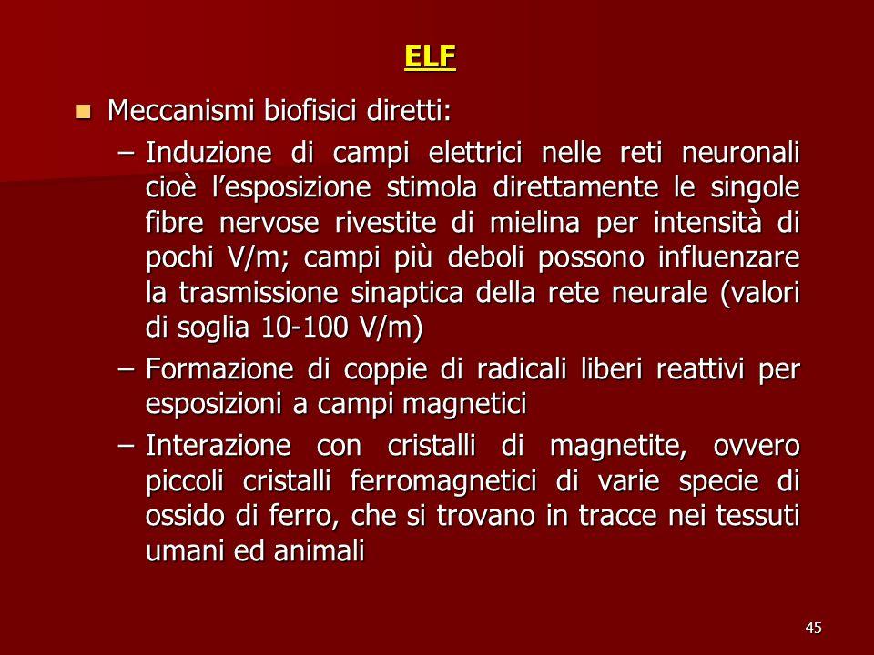 45ELF Meccanismi biofisici diretti: Meccanismi biofisici diretti: –Induzione di campi elettrici nelle reti neuronali cioè lesposizione stimola diretta