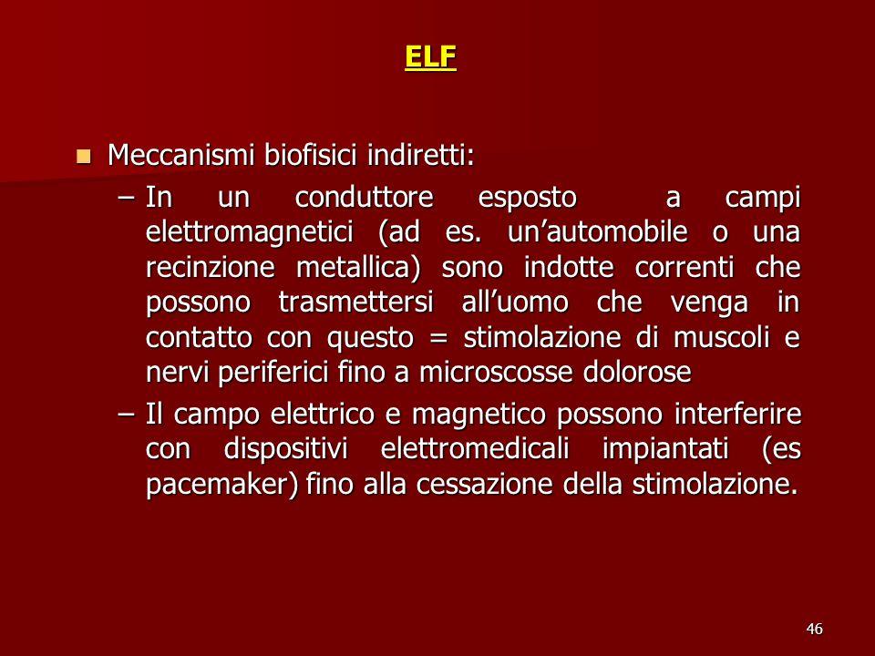46ELF Meccanismi biofisici indiretti: Meccanismi biofisici indiretti: –In un conduttore esposto a campi elettromagnetici (ad es. unautomobile o una re