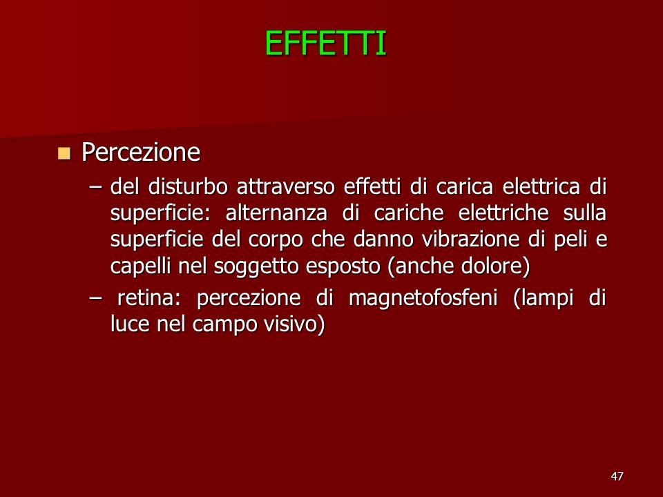 47EFFETTI Percezione Percezione –del disturbo attraverso effetti di carica elettrica di superficie: alternanza di cariche elettriche sulla superficie
