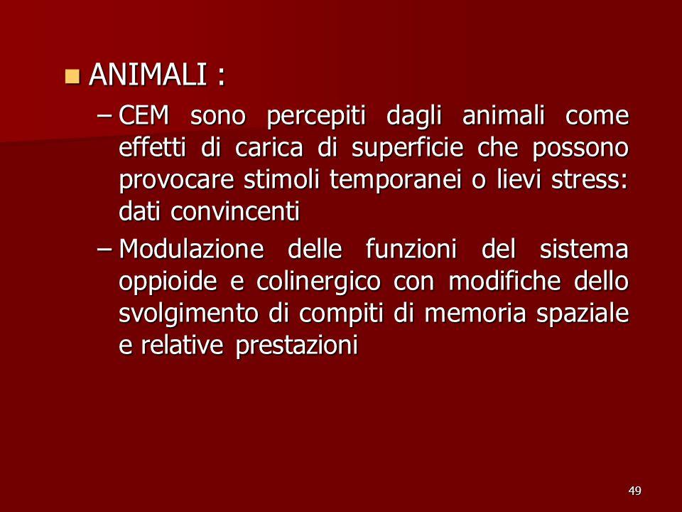 49 ANIMALI : ANIMALI : –CEM sono percepiti dagli animali come effetti di carica di superficie che possono provocare stimoli temporanei o lievi stress:
