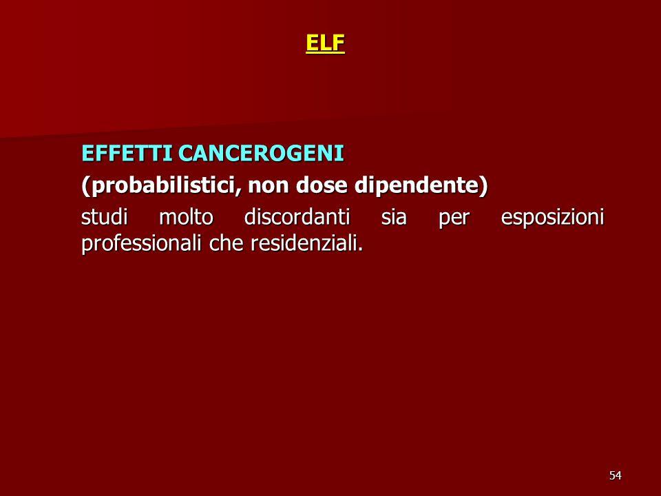 54ELF EFFETTI CANCEROGENI (probabilistici, non dose dipendente) studi molto discordanti sia per esposizioni professionali che residenziali.