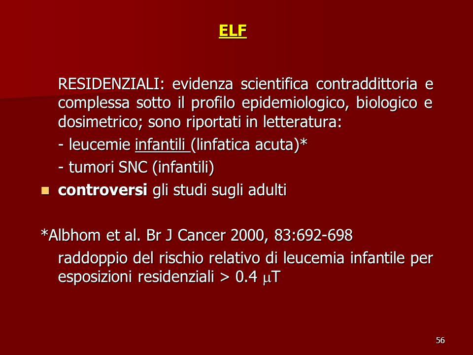 56ELF RESIDENZIALI: evidenza scientifica contraddittoria e complessa sotto il profilo epidemiologico, biologico e dosimetrico; sono riportati in lette