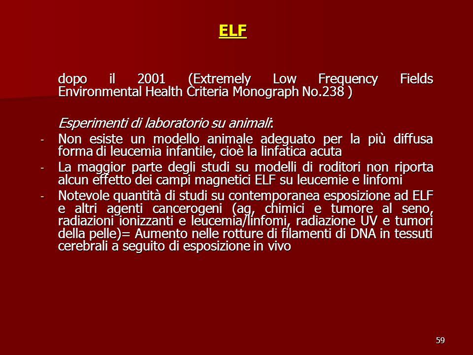 59ELF dopo il 2001 (Extremely Low Frequency Fields Environmental Health Criteria Monograph No.238 ) Esperimenti di laboratorio su animali: - Non esist