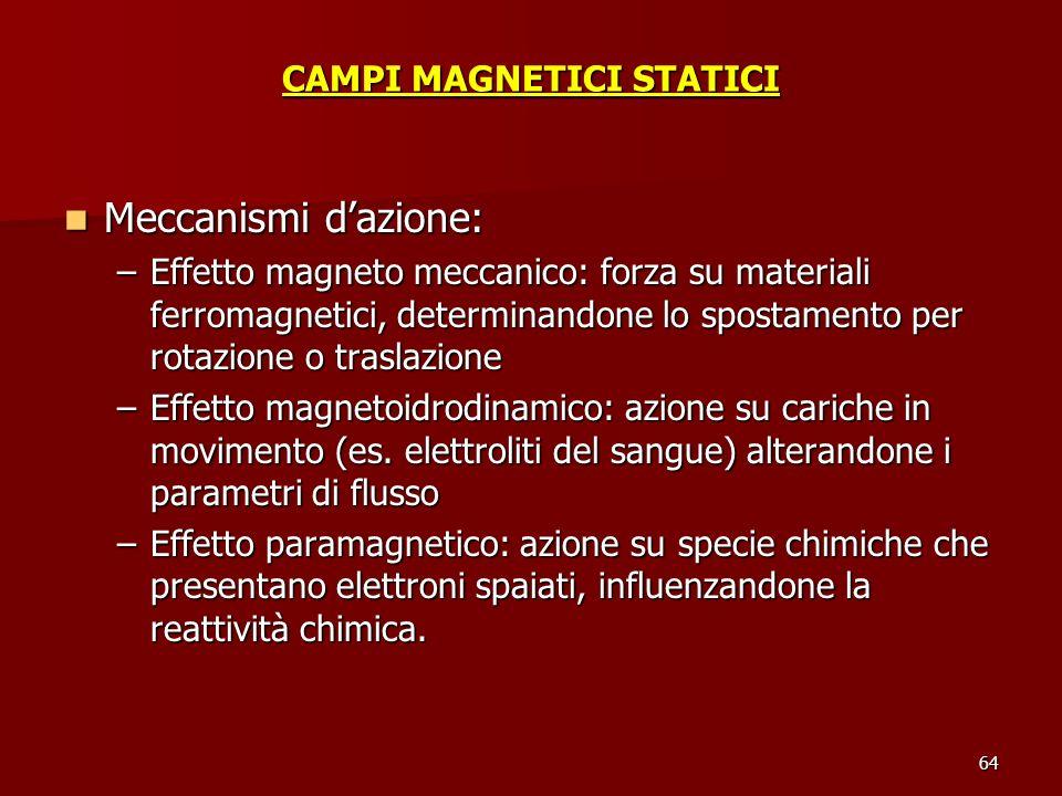 64 CAMPI MAGNETICI STATICI Meccanismi dazione: Meccanismi dazione: –Effetto magneto meccanico: forza su materiali ferromagnetici, determinandone lo sp