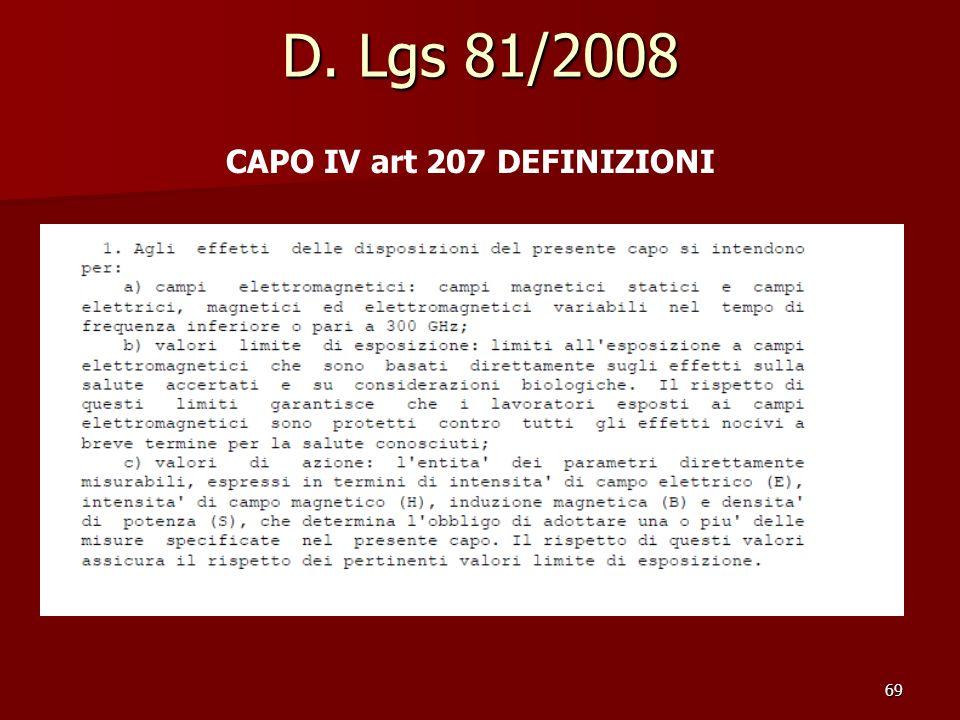 69 D. Lgs 81/2008 CAPO IV art 207 DEFINIZIONI