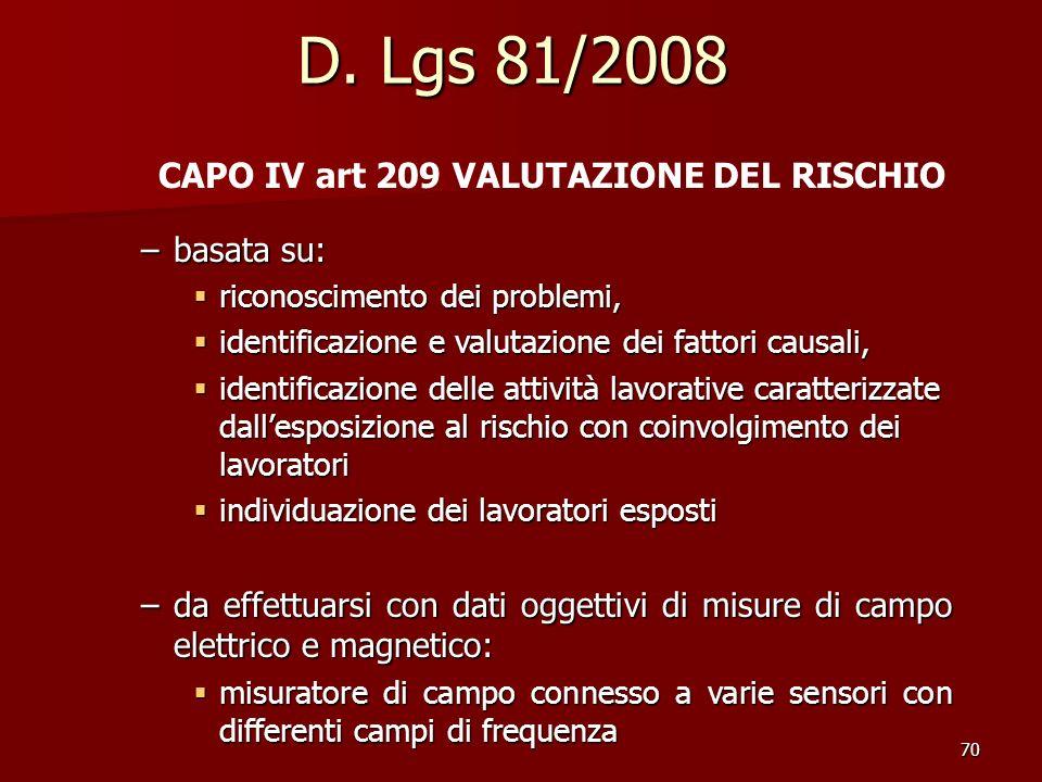 70 D. Lgs 81/2008 CAPO IV art 209 VALUTAZIONE DEL RISCHIO –basata su: riconoscimento dei problemi, riconoscimento dei problemi, identificazione e valu
