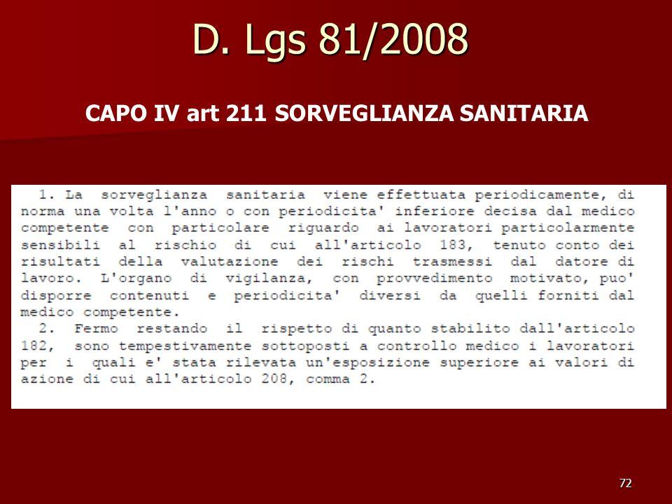 72 D. Lgs 81/2008 CAPO IV art 211 SORVEGLIANZA SANITARIA