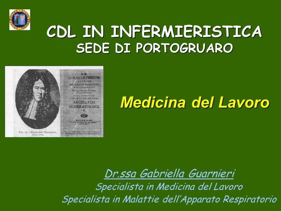 CDL IN INFERMIERISTICA SEDE DI PORTOGRUARO Dr.ssa Gabriella Guarnieri Specialista in Medicina del Lavoro Specialista in Malattie dellApparato Respirat