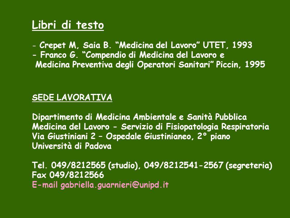 Libri di testo - Crepet M, Saia B. Medicina del Lavoro UTET, 1993 - Franco G. Compendio di Medicina del Lavoro e Medicina Preventiva degli Operatori S