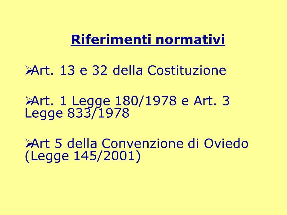 Riferimenti normativi Art. 13 e 32 della Costituzione Art. 1 Legge 180/1978 e Art. 3 Legge 833/1978 Art 5 della Convenzione di Oviedo (Legge 145/2001)