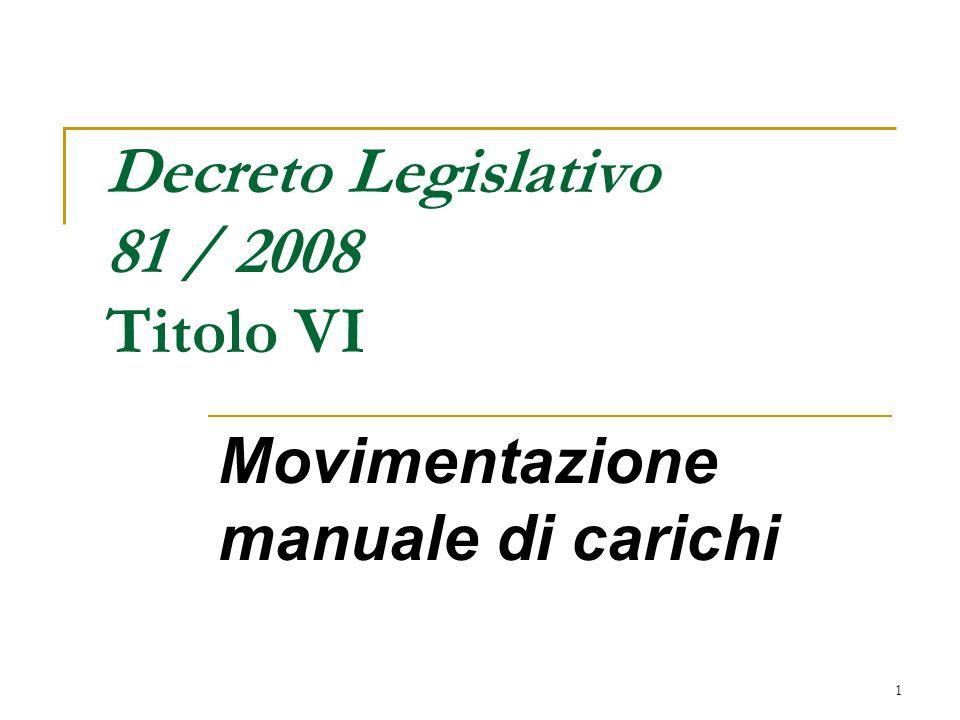 1 Movimentazione manuale di carichi Decreto Legislativo 81 / 2008 Titolo VI