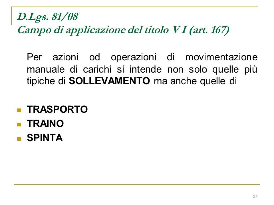 24 D.Lgs. 81/08 Campo di applicazione del titolo V I (art. 167) Per azioni od operazioni di movimentazione manuale di carichi si intende non solo quel