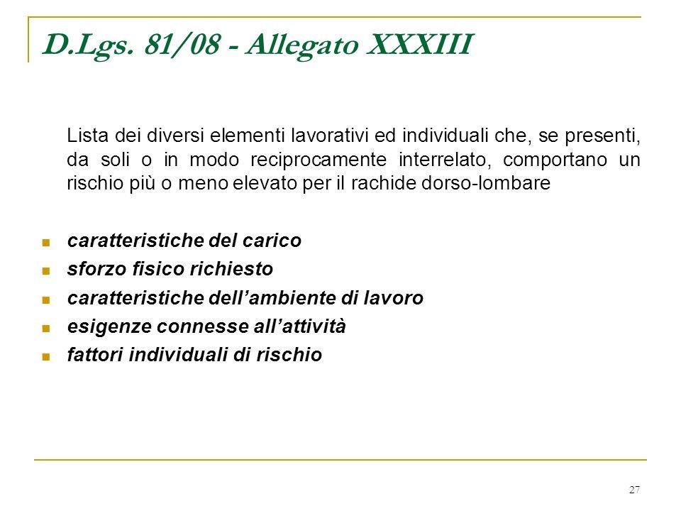 27 D.Lgs. 81/08 - Allegato XXXIII Lista dei diversi elementi lavorativi ed individuali che, se presenti, da soli o in modo reciprocamente interrelato,