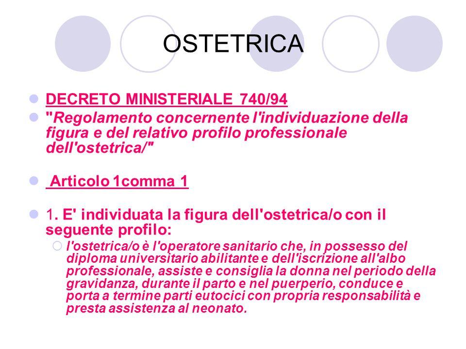 OSTETRICA DECRETO MINISTERIALE 740/94 Regolamento concernente l individuazione della figura e del relativo profilo professionale dell ostetrica/ Articolo 1comma 1 1.