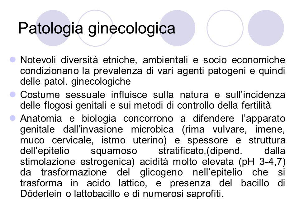 Patologia ginecologica Notevoli diversità etniche, ambientali e socio economiche condizionano la prevalenza di vari agenti patogeni e quindi delle patol.