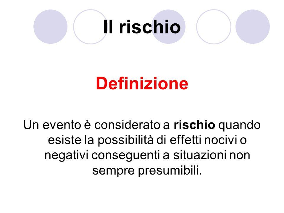 Il rischio Definizione Un evento è considerato a rischio quando esiste la possibilità di effetti nocivi o negativi conseguenti a situazioni non sempre presumibili.