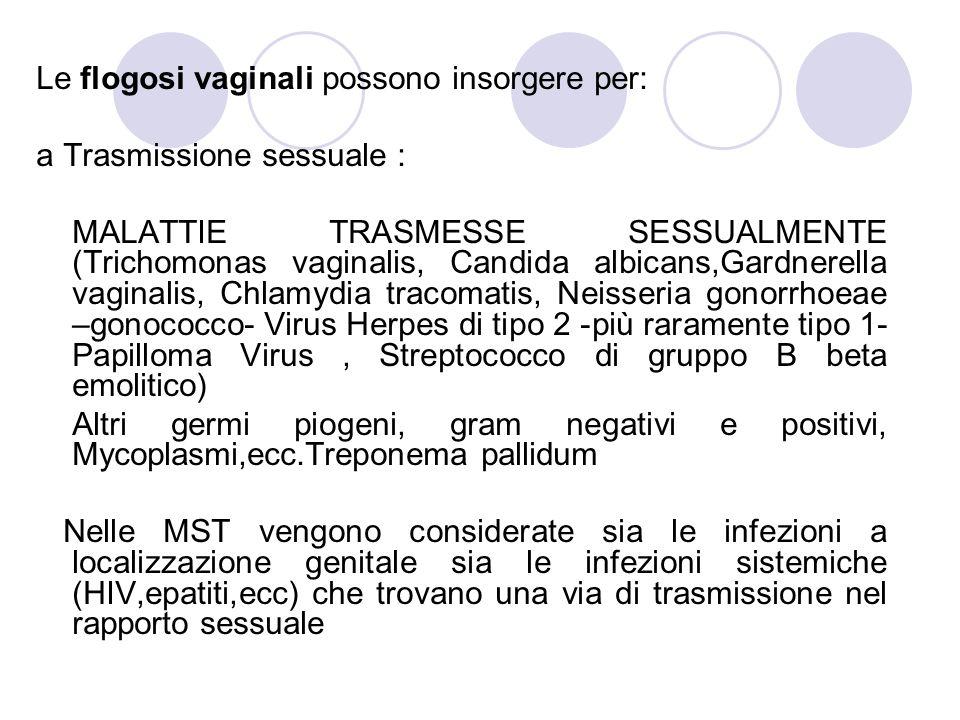 Le flogosi vaginali possono insorgere per: a Trasmissione sessuale : MALATTIE TRASMESSE SESSUALMENTE (Trichomonas vaginalis, Candida albicans,Gardnerella vaginalis, Chlamydia tracomatis, Neisseria gonorrhoeae –gonococco- Virus Herpes di tipo 2 -più raramente tipo 1- Papilloma Virus, Streptococco di gruppo B beta emolitico) Altri germi piogeni, gram negativi e positivi, Mycoplasmi,ecc.Treponema pallidum Nelle MST vengono considerate sia le infezioni a localizzazione genitale sia le infezioni sistemiche (HIV,epatiti,ecc) che trovano una via di trasmissione nel rapporto sessuale