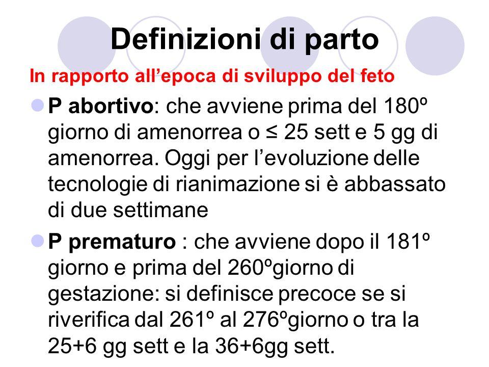 Definizioni di parto In rapporto allepoca di sviluppo del feto P abortivo: che avviene prima del 180º giorno di amenorrea o 25 sett e 5 gg di amenorrea.