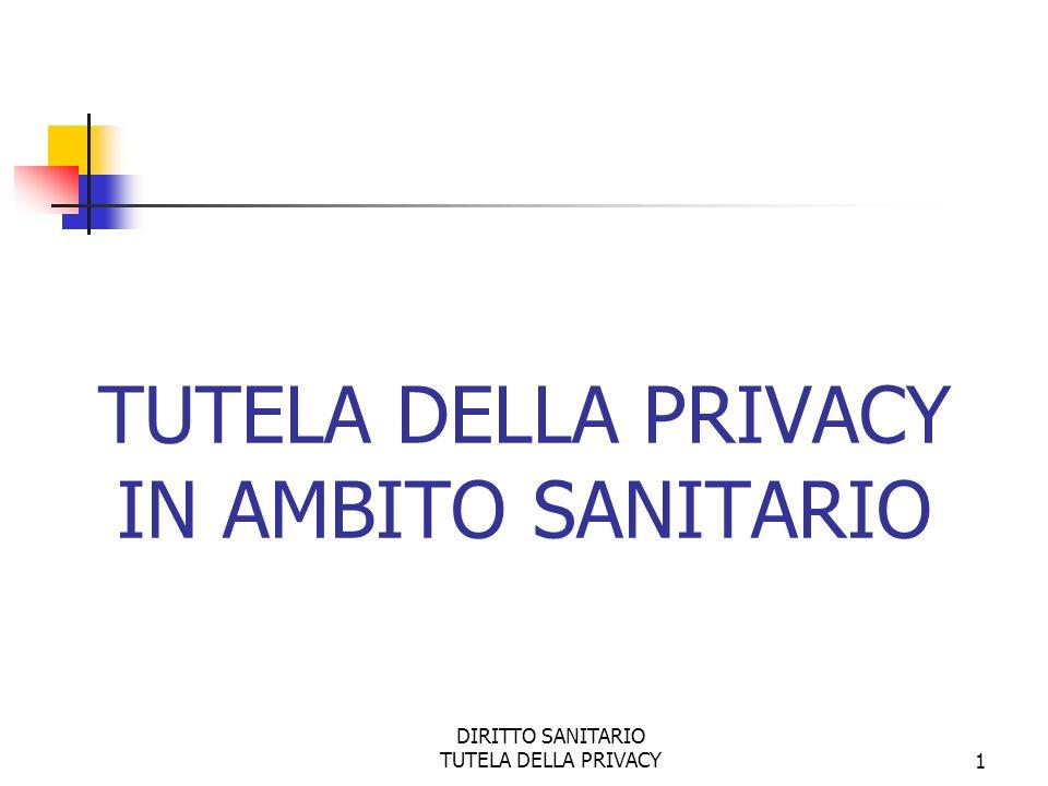DIRITTO SANITARIO TUTELA DELLA PRIVACY1 TUTELA DELLA PRIVACY IN AMBITO SANITARIO