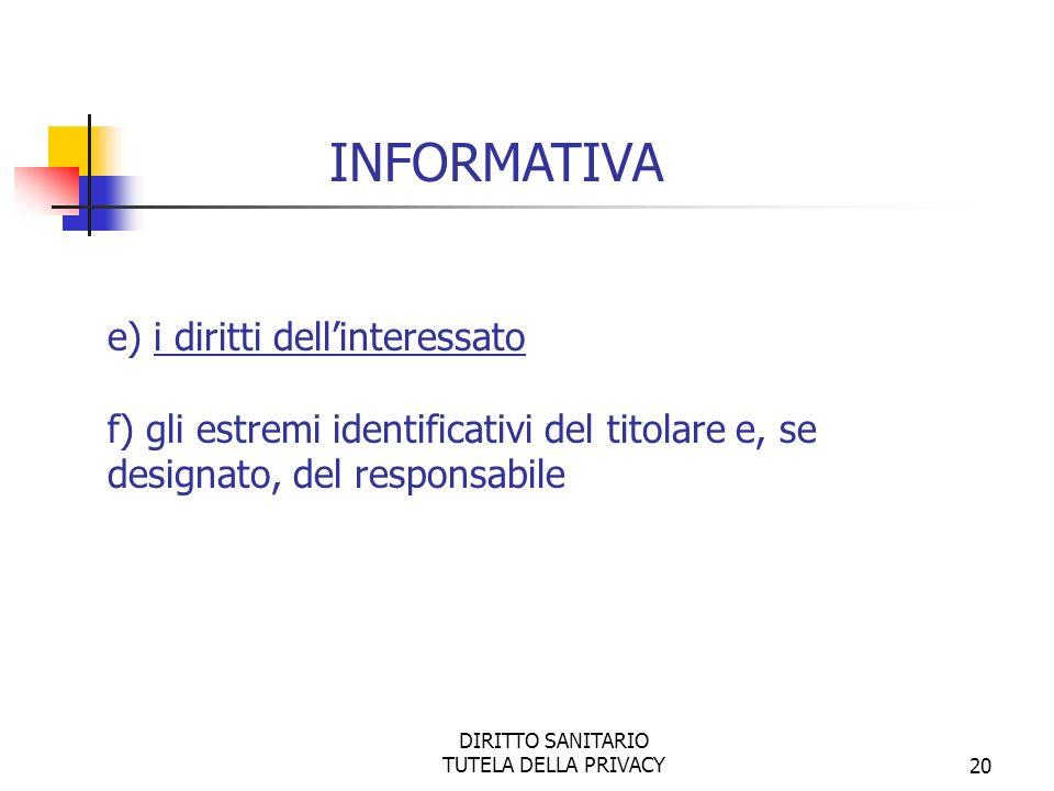 DIRITTO SANITARIO TUTELA DELLA PRIVACY20 e) i diritti dellinteressato f) gli estremi identificativi del titolare e, se designato, del responsabile INFORMATIVA