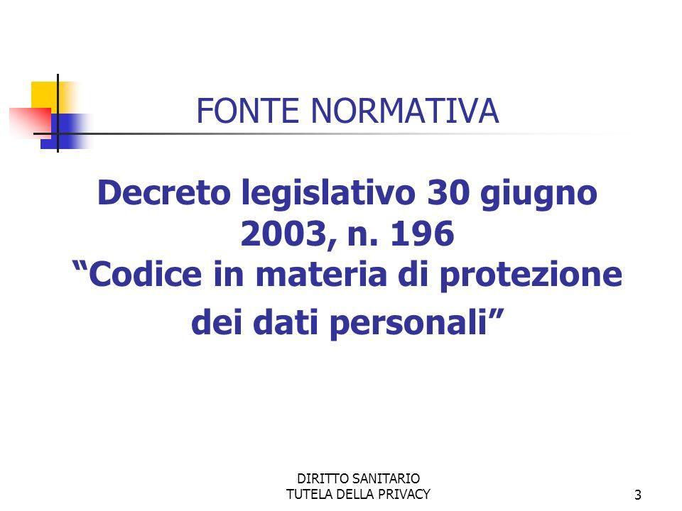 DIRITTO SANITARIO TUTELA DELLA PRIVACY3 FONTE NORMATIVA Decreto legislativo 30 giugno 2003, n.