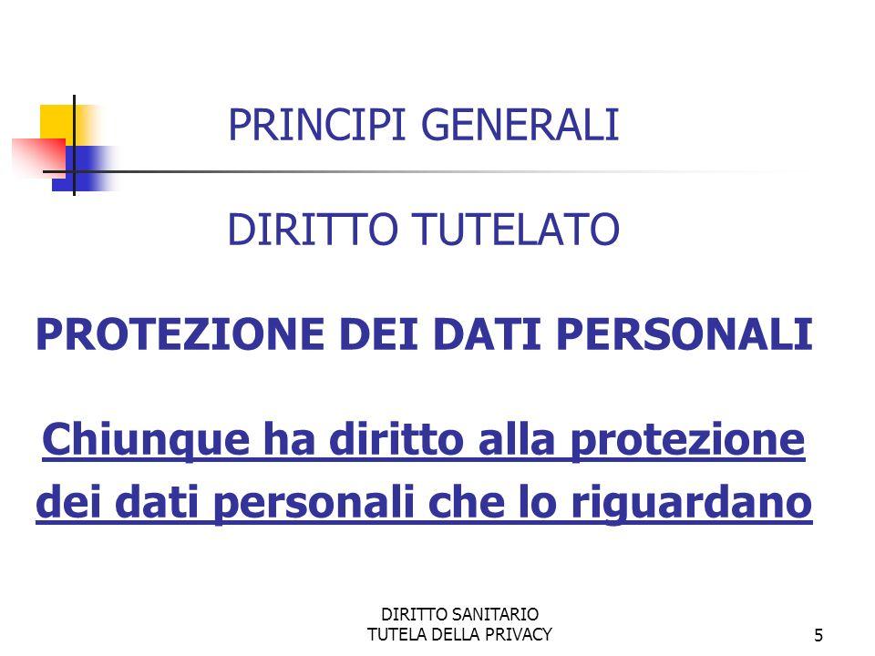 DIRITTO SANITARIO TUTELA DELLA PRIVACY5 PRINCIPI GENERALI DIRITTO TUTELATO PROTEZIONE DEI DATI PERSONALI Chiunque ha diritto alla protezione dei dati personali che lo riguardano