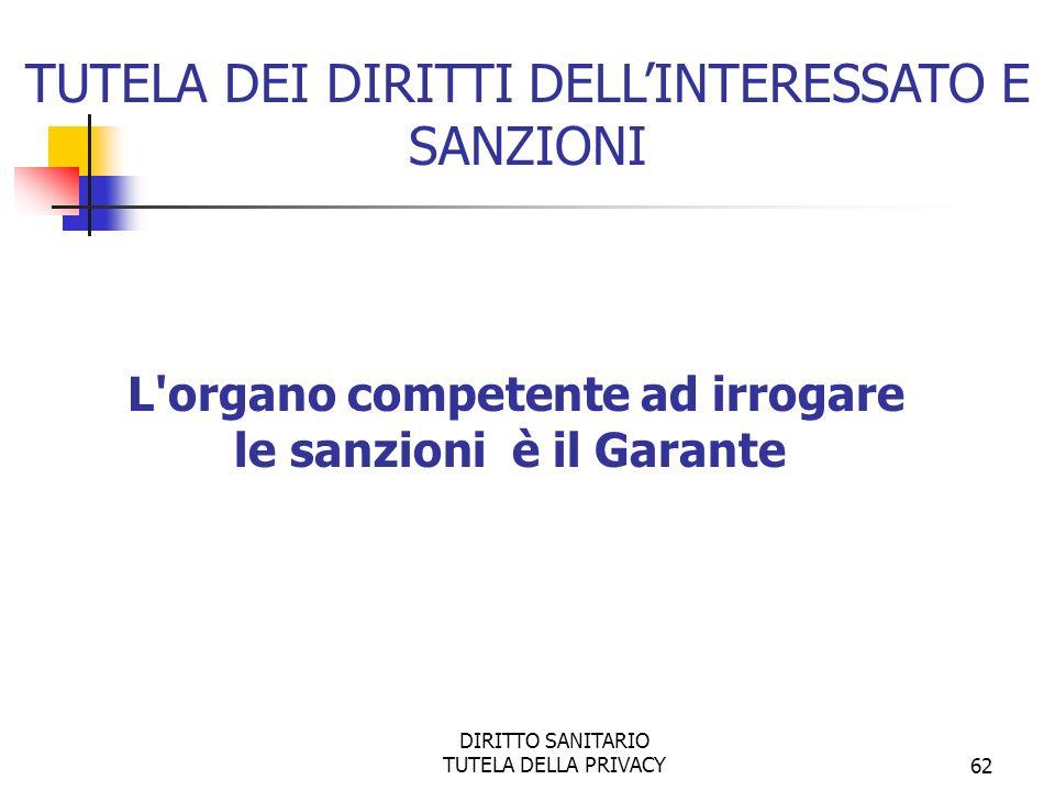 DIRITTO SANITARIO TUTELA DELLA PRIVACY62 L organo competente ad irrogare le sanzioni è il Garante TUTELA DEI DIRITTI DELLINTERESSATO E SANZIONI