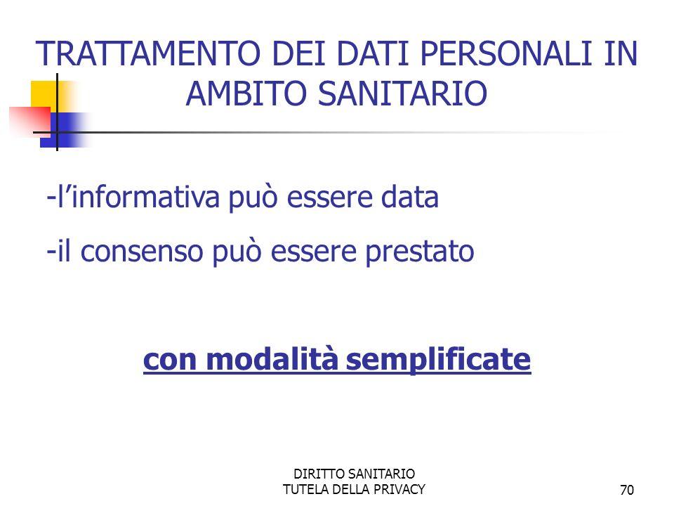 DIRITTO SANITARIO TUTELA DELLA PRIVACY70 -linformativa può essere data -il consenso può essere prestato con modalità semplificate TRATTAMENTO DEI DATI PERSONALI IN AMBITO SANITARIO