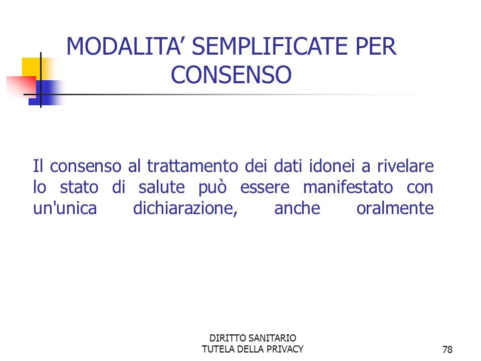 DIRITTO SANITARIO TUTELA DELLA PRIVACY78 Il consenso al trattamento dei dati idonei a rivelare lo stato di salute può essere manifestato con un unica dichiarazione, anche oralmente MODALITA SEMPLIFICATE PER CONSENSO
