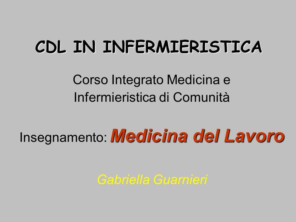CDL IN INFERMIERISTICA Corso Integrato Medicina e Infermieristica di Comunità Medicina del Lavoro Insegnamento: Medicina del Lavoro Gabriella Guarnier