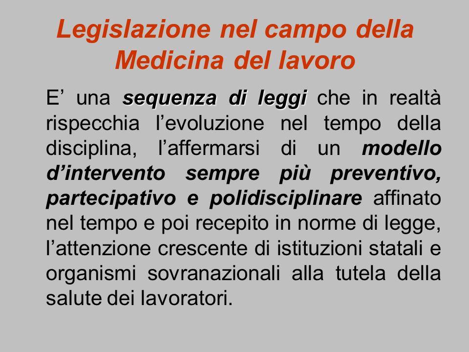 Legislazione nel campo della Medicina del lavoro sequenza di leggi E una sequenza di leggi che in realtà rispecchia levoluzione nel tempo della discip