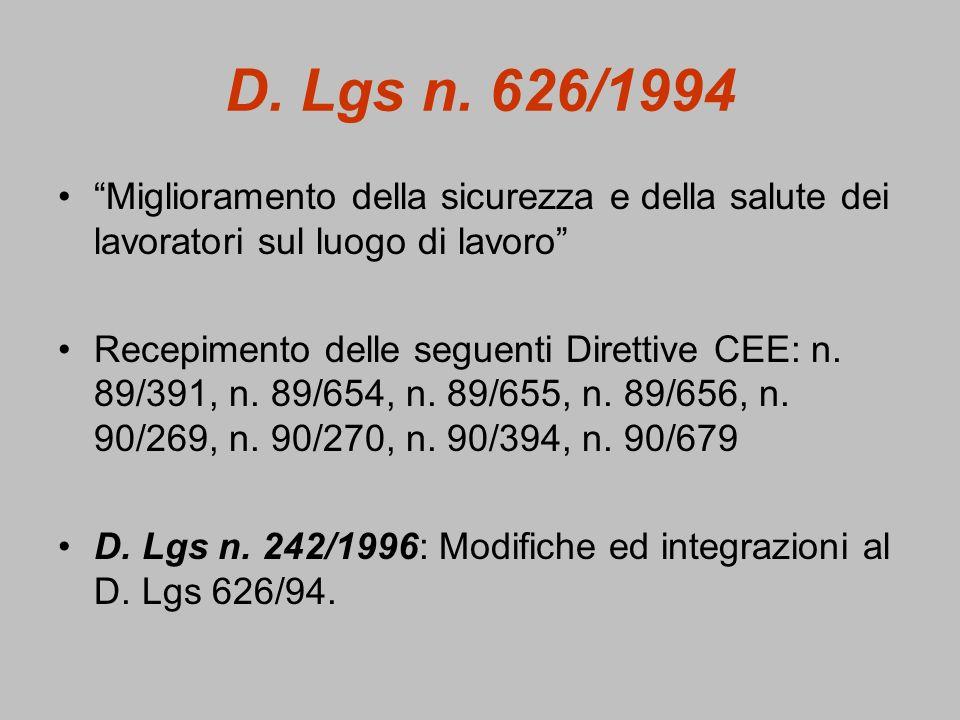 D. Lgs n. 626/1994 Miglioramento della sicurezza e della salute dei lavoratori sul luogo di lavoro Recepimento delle seguenti Direttive CEE: n. 89/391