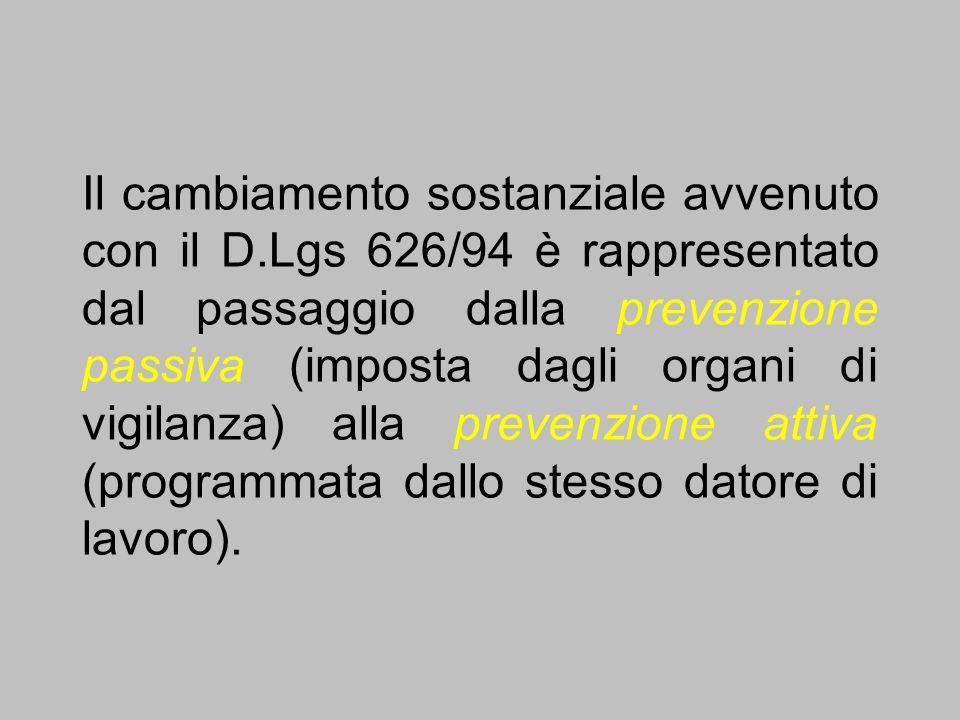 Il cambiamento sostanziale avvenuto con il D.Lgs 626/94 è rappresentato dal passaggio dalla prevenzione passiva (imposta dagli organi di vigilanza) al