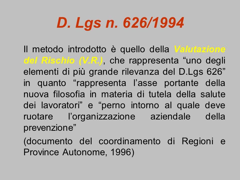 D. Lgs n. 626/1994 Il metodo introdotto è quello della Valutazione del Rischio (V.R.), che rappresenta uno degli elementi di più grande rilevanza del