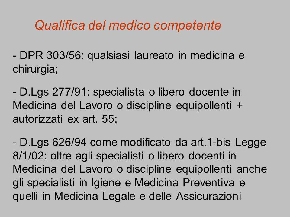 Qualifica del medico competente - DPR 303/56: qualsiasi laureato in medicina e chirurgia; - D.Lgs 277/91: specialista o libero docente in Medicina del
