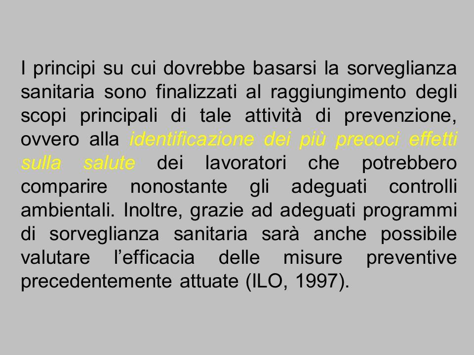 I principi su cui dovrebbe basarsi la sorveglianza sanitaria sono finalizzati al raggiungimento degli scopi principali di tale attività di prevenzione