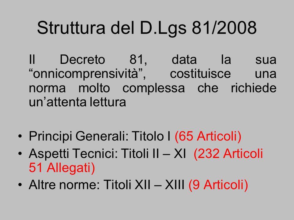 Struttura del D.Lgs 81/2008 Il Decreto 81, data la sua onnicomprensività, costituisce una norma molto complessa che richiede unattenta lettura Princip