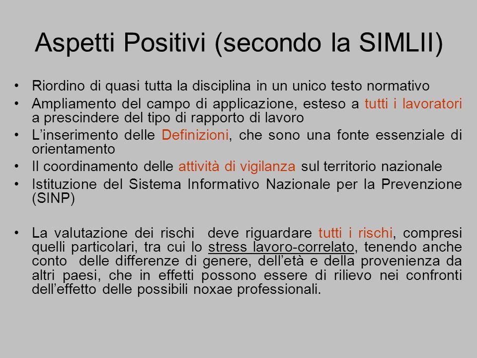 Aspetti Positivi (secondo la SIMLII) Riordino di quasi tutta la disciplina in un unico testo normativo Ampliamento del campo di applicazione, esteso a