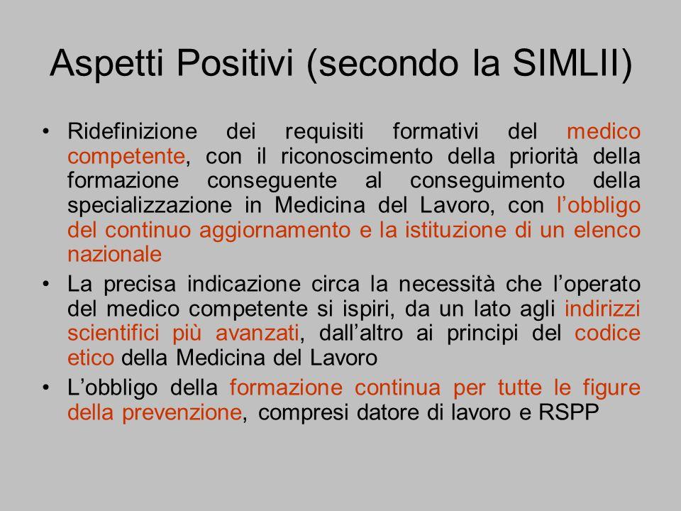 Aspetti Positivi (secondo la SIMLII) Ridefinizione dei requisiti formativi del medico competente, con il riconoscimento della priorità della formazion