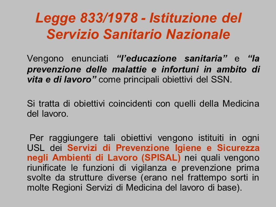 Legge 833/1978 - Istituzione del Servizio Sanitario Nazionale Vengono enunciati leducazione sanitaria e la prevenzione delle malattie e infortuni in a
