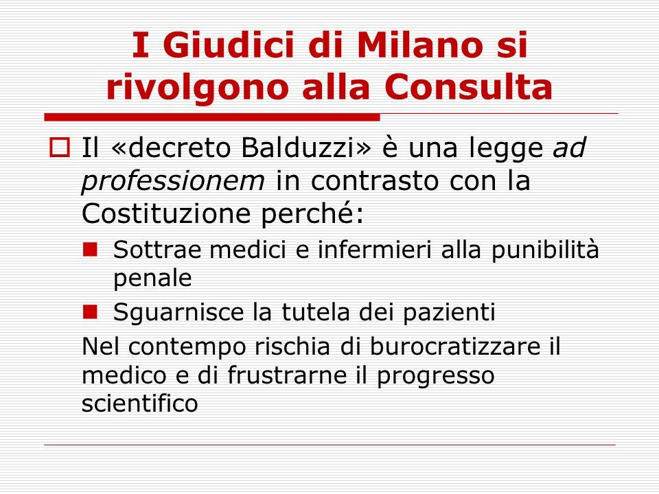 I Giudici di Milano si rivolgono alla Consulta Il «decreto Balduzzi» è una legge ad professionem in contrasto con la Costituzione perché: Sottrae medi