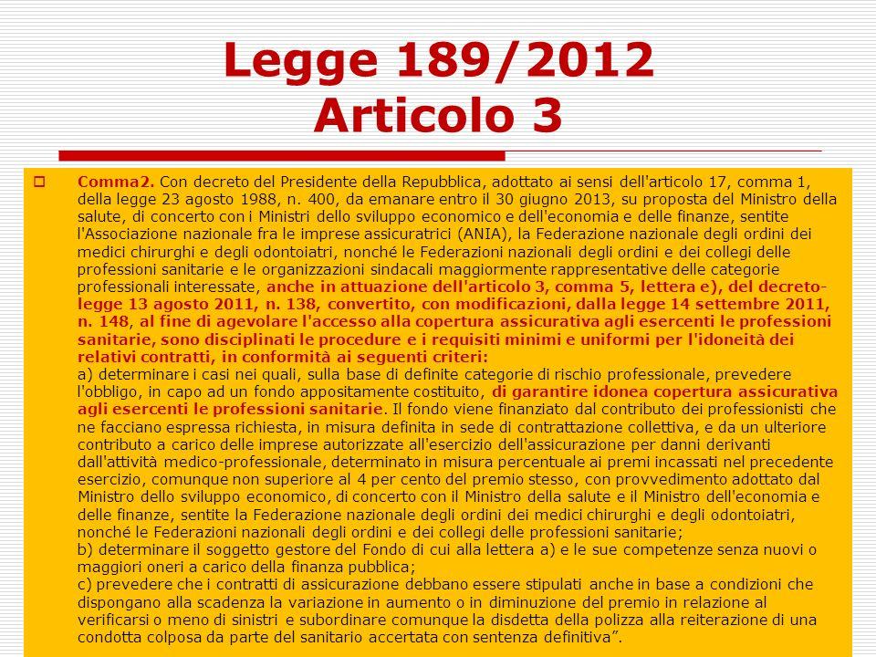 Legge 189/2012 Articolo 3 Comma2. Con decreto del Presidente della Repubblica, adottato ai sensi dell'articolo 17, comma 1, della legge 23 agosto 1988