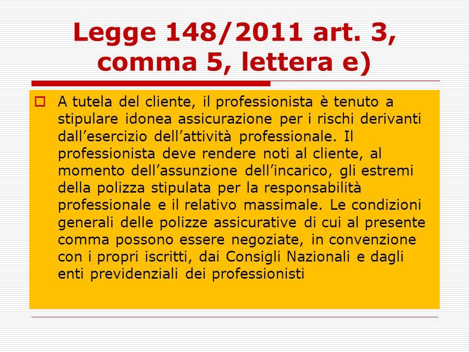 Legge 148/2011 art. 3, comma 5, lettera e) A tutela del cliente, il professionista è tenuto a stipulare idonea assicurazione per i rischi derivanti da