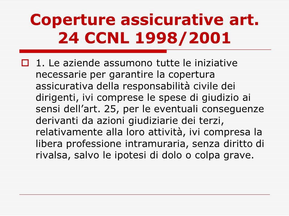 Coperture assicurative art. 24 CCNL 1998/2001 1. Le aziende assumono tutte le iniziative necessarie per garantire la copertura assicurativa della resp