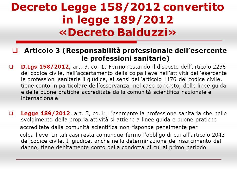 Decreto Legge 158/2012 convertito in legge 189/2012 «Decreto Balduzzi» Articolo 3 (Responsabilità professionale dellesercente le professioni sanitarie
