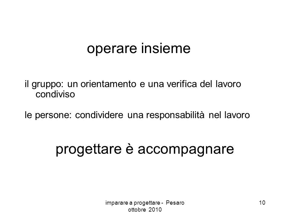 imparare a progettare - Pesaro ottobre 2010 10 operare insieme il gruppo: un orientamento e una verifica del lavoro condiviso le persone: condividere una responsabilità nel lavoro progettare è accompagnare