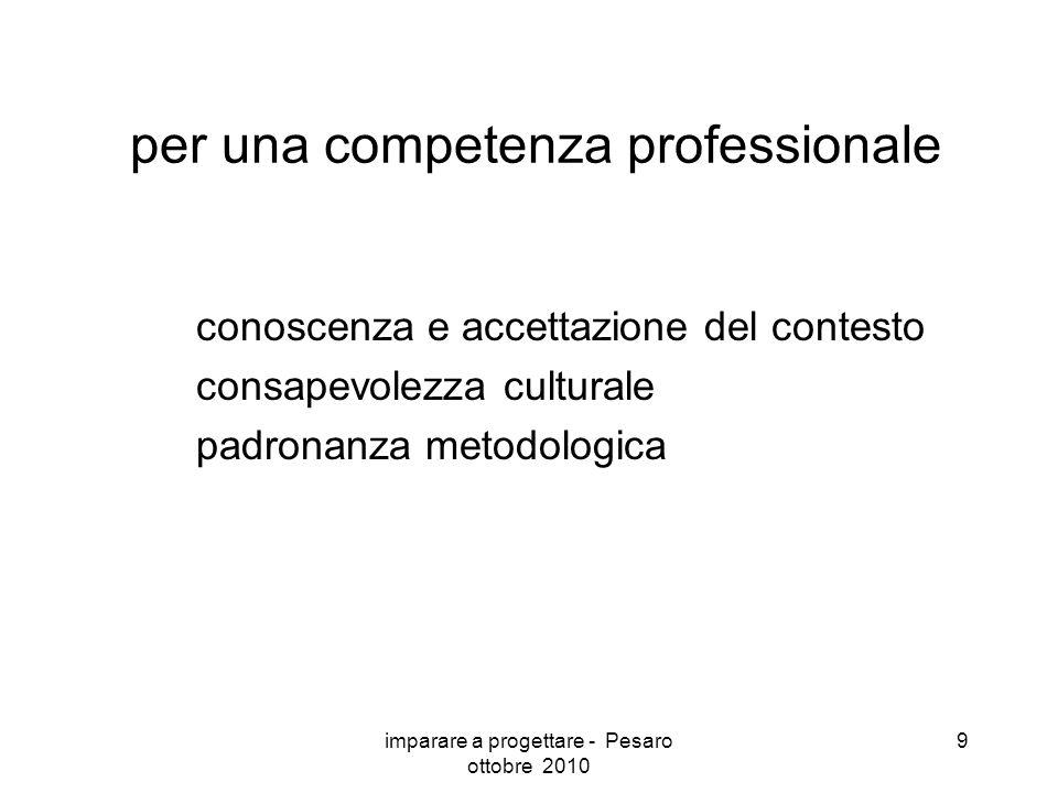 imparare a progettare - Pesaro ottobre 2010 9 per una competenza professionale conoscenza e accettazione del contesto consapevolezza culturale padronanza metodologica
