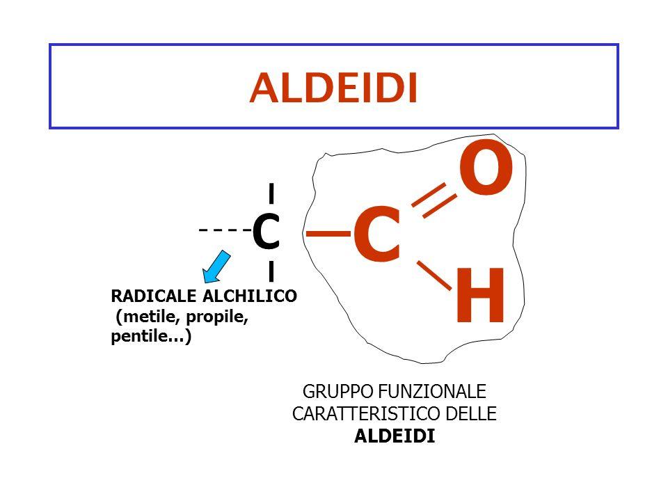 ALDEIDI C GRUPPO FUNZIONALE CARATTERISTICO DELLE ALDEIDI O H RADICALE ALCHILICO (metile, propile, pentile…) C