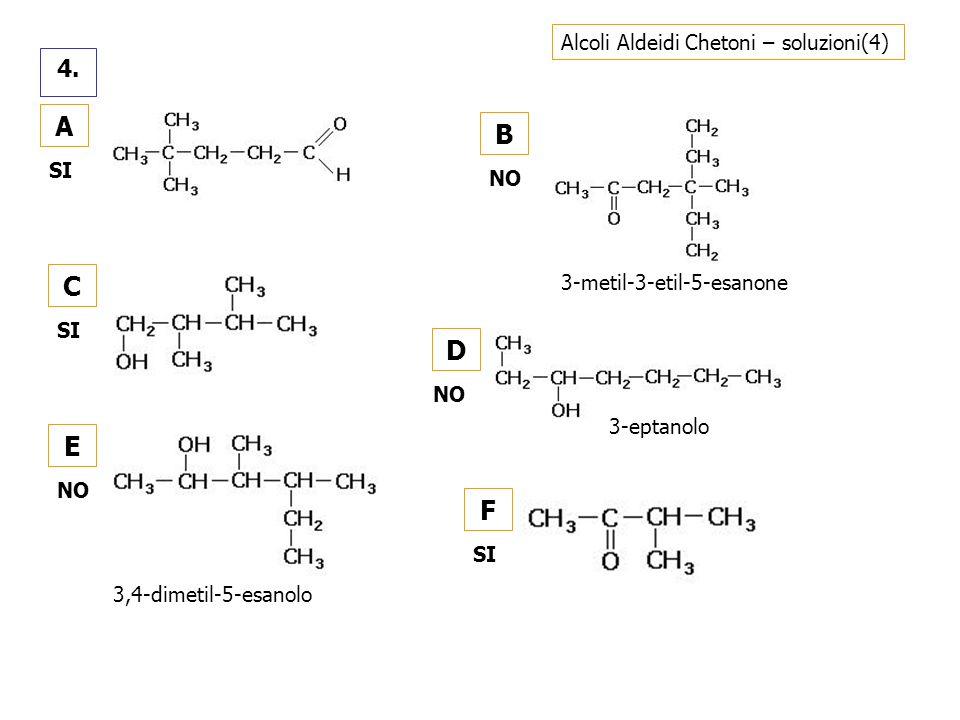 Alcoli Aldeidi Chetoni – soluzioni(4) 4. A SI C B NO D E F SI 3-metil-3-etil-5-esanone 3-eptanolo 3,4-dimetil-5-esanolo